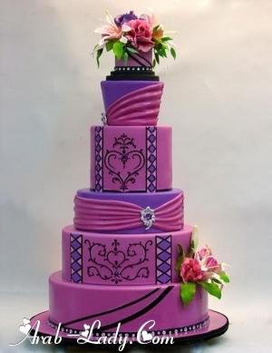 أفخم كيكات حفلات الزواج باللون البنفسجي !